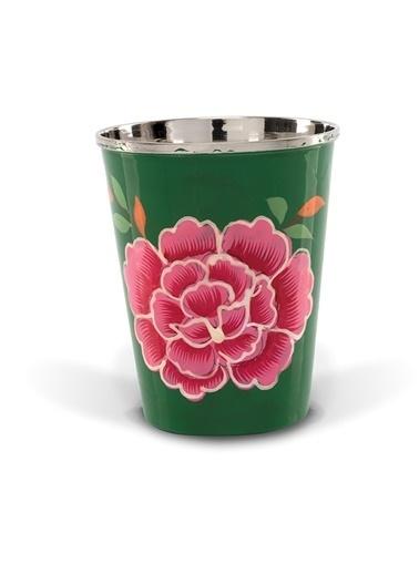 Çiçekli Yeşil Mini Bardak-3rd Culture